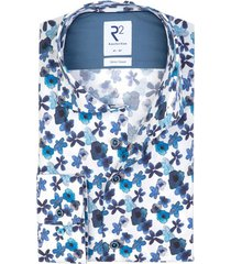 overhemd bloemenprint wit blauw r2 amsterdam
