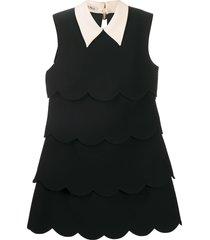 miu miu scalloped edge tiered shift dress - black