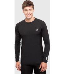 camiseta palmers m/larga c/r microfibra negro - calce ajustado