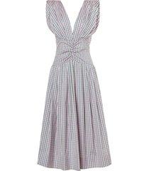 jean micro check dress