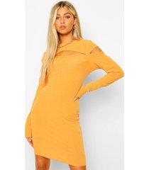 tall zachter geribbelde mini jurk met uitsnijding, mustard