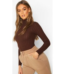 long sleeved turtle neck rib top, brown