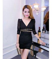pf096 deep v-bust slim & sly a-line dress, free size, black