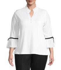 karl lagerfeld paris women's plus ruffled bell-sleeve blouse - soft white - size 1x (14-16)