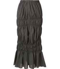 enföld tiered asymmetric wool skirt - grey