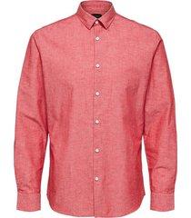 overhemd slim linnen rood
