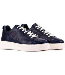 tenis casuales de moda 100% cuero  azul oscuro 8321-3021ov