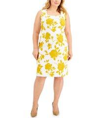 kasper plus size printed sleeveless square-neck dress