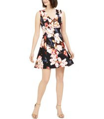 taylor petite floral fit & flare dress