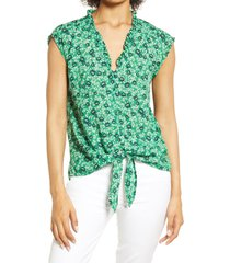 bobeau ruffle trim tie front blouse, size large in green floral at nordstrom