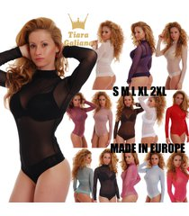 mesh women bodysuit long sleeve turtle mock neck thong tulle lady body s-3xl 337