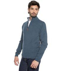 sweater azul 58 preppy m/l c/alto 1/2 cremallera t.delgado