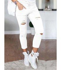cintura blanca con cordón recortado pantalones