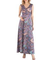 24seven comfort apparel empire waist paisley maternity maxi dress