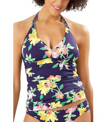 women's tommy bahama sun lilies reversible halter tankini top, size large - blue
