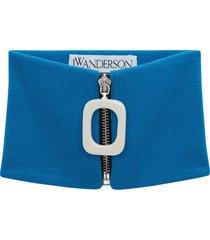 jw anderson zip-up wool scarf - blue