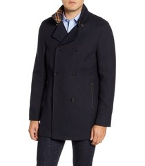 rodd & gunn nixon regular fit double breasted peacoat, size xx-large in midnight at nordstrom