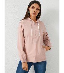 yoins rosa con capucha diseño suéter con cordón capucha