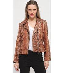 chaqueta ash animal print marrón - calce ajustado