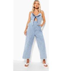 chambray culotte jumpsuit met strik, light blue