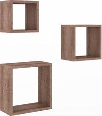 nicho conjunto 3 peças para decoração 3078 rústico - móvel bento