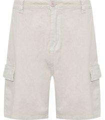 bermuda masculina cargo cotton linen - bege