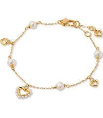 kate spade new york gold-tone imitation pearl heart link bracelet