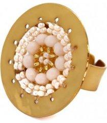 anillo imperial baño oro tejido blanco/perla bijulovers