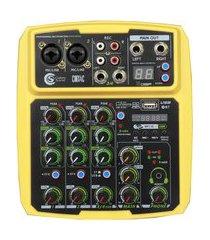 mesa de som mixer 4 canais bluetooth usb custom sound cmx4c amarela bivolt