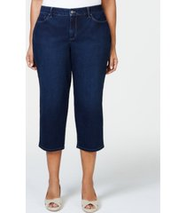 charter club plus size tummy control capri jeans, created for macy's
