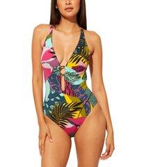 bleu by rod beattie plunge-neck one-piece swimsuit women's swimsuit