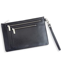 royce new york women's rfid-blocking leather crossbody case - black