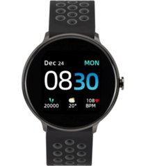 sport 3 unisex touchscreen smartwatch: black case with black/gray perforated strap 45mm