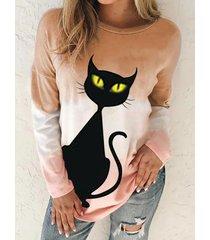 camicetta casual a maniche lunghe con stampa di gatti dei cartoni animati per donna