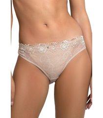 calzón bikini microfibra encaje beige baziani