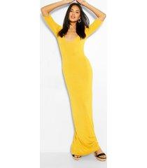 maxi jurk met v-hals en driekwartsmouwen, mosterd