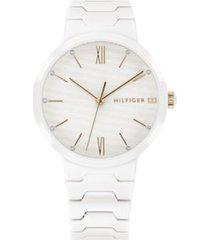 tommy hilfiger women's white monochrome dress watch white -