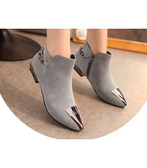 pb156 elegant pointy booties w plate and thick chain,  size 5-8.5, gray