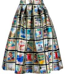 ultràchic travel postcard print skirt - neutrals