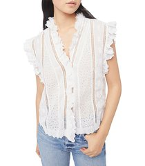 frame women's lauren ruffle trim blouse - white - size xl