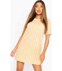 gestreepte pastel jurk met korte mouwen, abrikoos