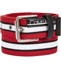 calvin klein big boys striped flat-strap belt