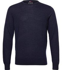 fine gauge luxury wool crew neck stickad tröja m. rund krage blå tommy hilfiger tailored