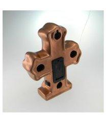 cruz c/ luz led cobre em cerâmica