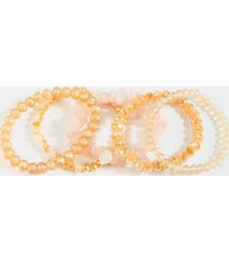 allison raw cut stone bracelet set - gold