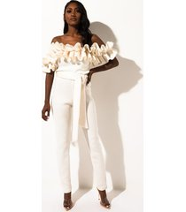 akira mad for you ruffle off the shoulder scuba jumpsuit