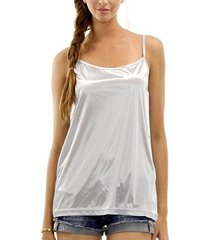 [shop lev] women's basic satin full slip top camisole (silver, large)