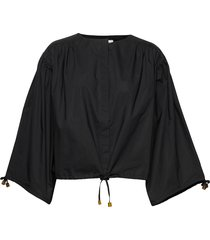 rodebjer breeze cotton blouse lange mouwen zwart rodebjer