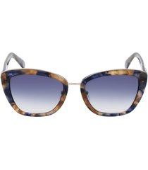 longchamp roseau 53mm gradient rectangle sunglasses in havana/blue at nordstrom