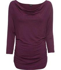 maglia con maniche a 3/4 scollo a cascata (viola) - bodyflirt